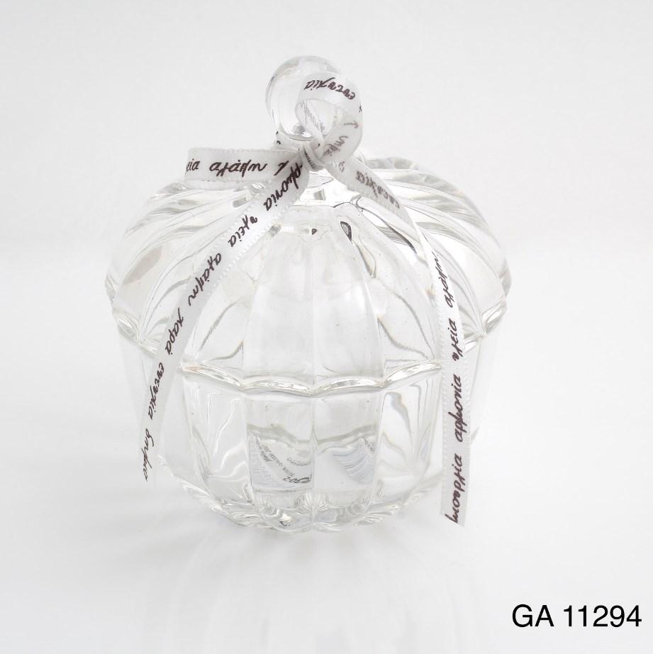 Γυάλινη Φοντανιέρα Με Καπάκι Υψος 8- Διαμετρος9cm Μπομπονιερα Βαπτισης-Γαμου Οικονομικη Τιμη Νεο Σχεδιο