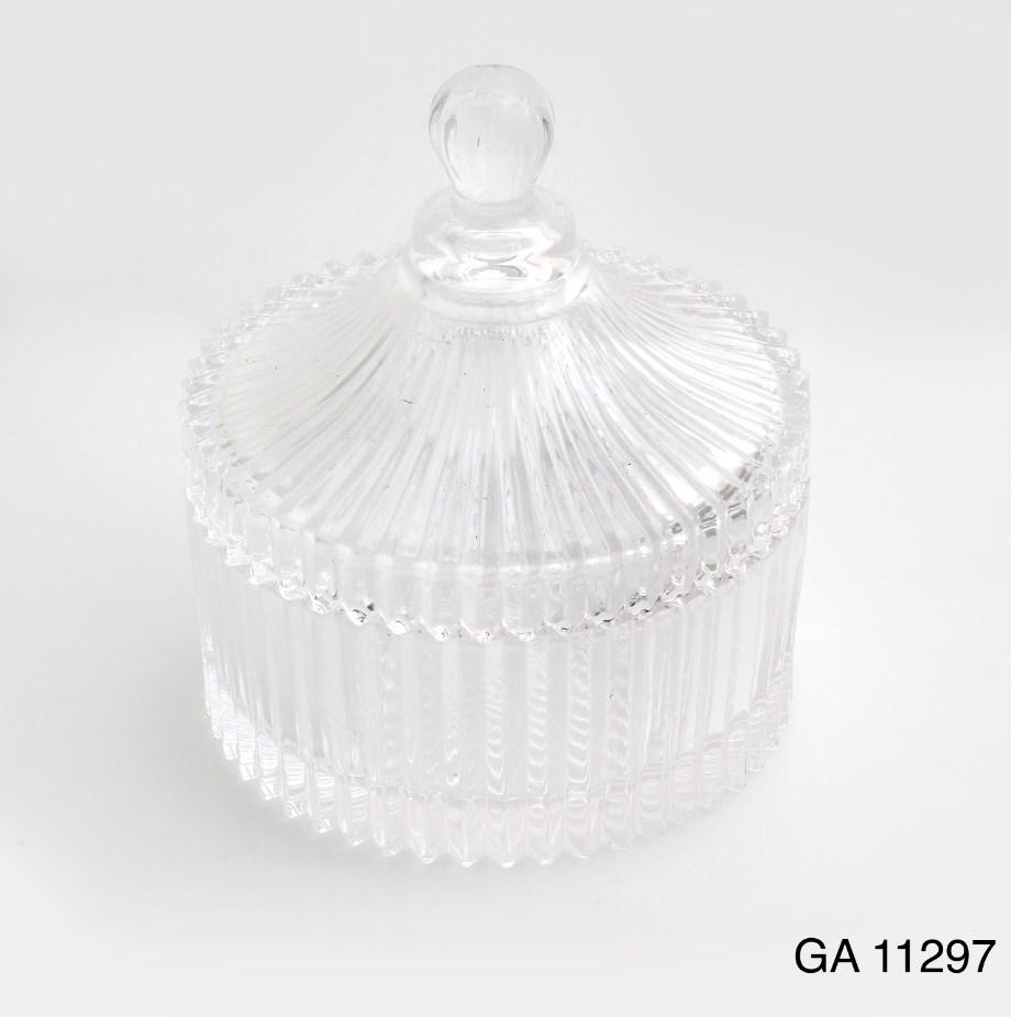 Γυάλινη Φοντανιέρα Με Καπάκι Μπομπονιερα Βαπτισης-Γαμου Νεο Σχεδιο Υψος 12.5χ10 Διαμετρος