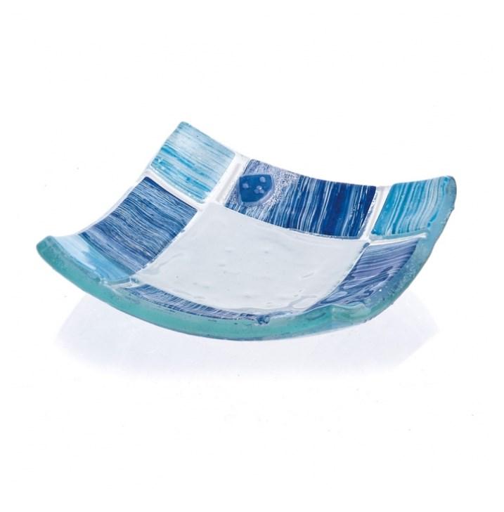 Γυάλινο πιατάκι τύπου μουράνο σε χρώμα σιέλ με μπλε