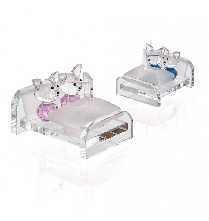 Γυάλινο διάφανο κρεβατάκι τύπου μουράνο με δύο αρκουδάκια σιελή ροζ
