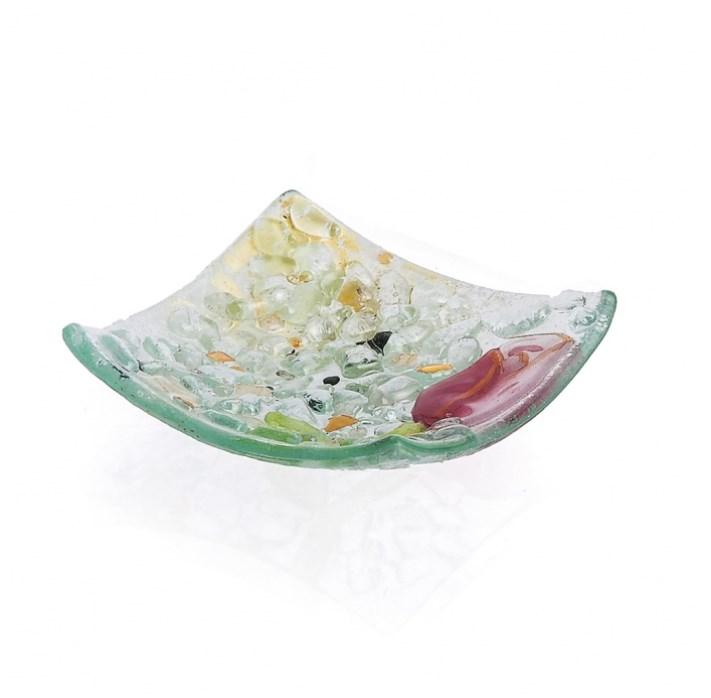 Γυάλινο πιατάκι τύπου μουράνο στα χρώματα του τριαντάφυλλου
