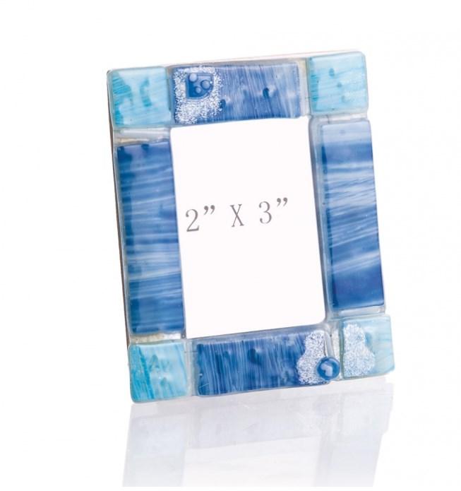 Γυάλινη Κορνίζα Τύπου Μουράνο Σε Χρώμα Σιελ Με Μπλε.